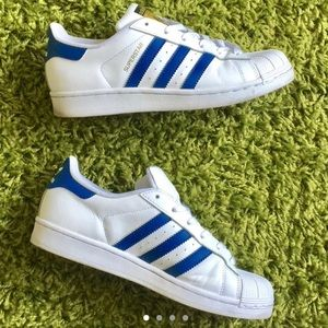 Adidas SuperStars White Blue Size 8.5